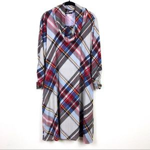 NWT Robert Louis Plaid Cowl Neck Long Sleeve Dress
